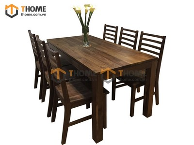 Bộ bàn ăn gỗ óc chó 1.6m BBA-01OC