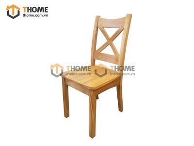 Ghế ăn lưng tựa chữ X gỗ sồi mặt gỗ GHE-08SM