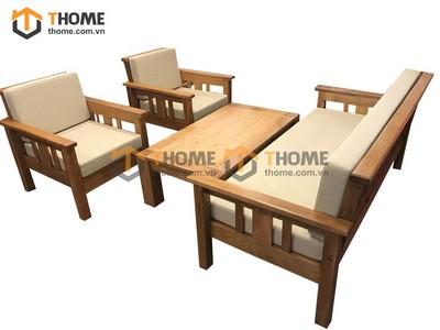 Bộ sofa cong gỗ sồi 4 set (nệm nỉ) SF-01SM
