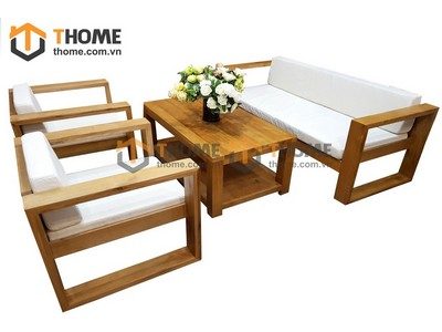 Bộ sofa thẳng gỗ sồi 4 món nệm nỉ SF-02SM