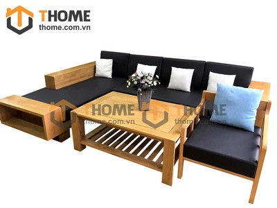 Bộ sofa góc ZEN gỗ sồi 4 món nệm da SF-08SM