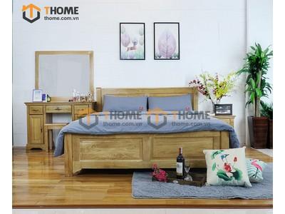 Bộ phòng ngủ 2 pano 2 hộc kéo chân cao 3 món BPN-02SM