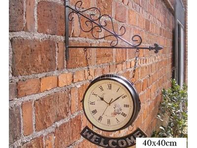 Đồng hồ sắt 2 mặt welcome (nâu) DC-06-16