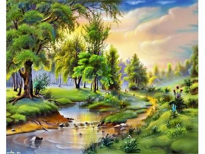 Tranh sơn dầu đồng quê con sông TSD-20
