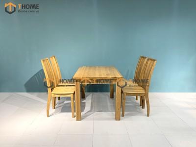 Bộ bàn ăn Harris 4 ghế 9 nan 1.2m; 1.35m; 1.4m BBA-01SM