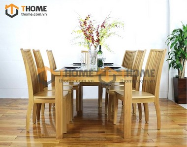Bộ bàn ăn Harris 6 ghế 9 nan 1.6m; 1.8m; 2.0m BBA-06SM