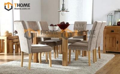 Bộ bàn ăn Harris 6 ghế bọc nệm 1.6m; 1.8m; 2.0m BBA-10SM