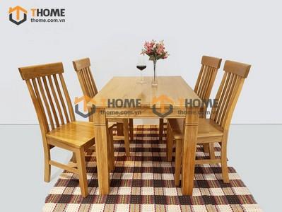 Bộ bàn ăn chân khứa 4 ghế 7 nan dọc 1.2m; 1.4m BBA-15SM