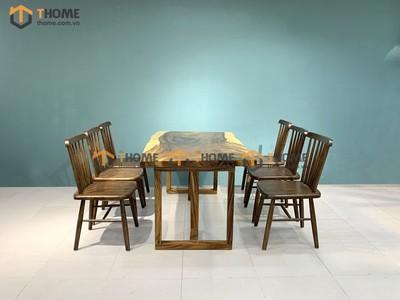 Bộ bàn ăn Me Tây 6 ghế 7 nan 1.4m; 1.6m; 1.8m; 2.0m BBA-84SN