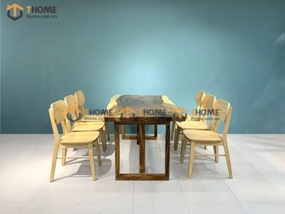 Bộ bàn ăn Me Tây 6 ghế tai voi 1.4m; 1.6m; 1.8m; 2.0m BBA-86SN