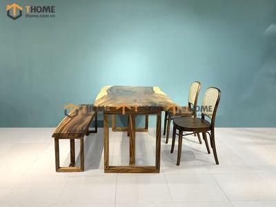 Bộ bàn ăn Me Tây 2 ghế Thonet mây oval, 1 ghế bench 1.4m; 1.6m; 1.8m; 2.0m BBA-89SN
