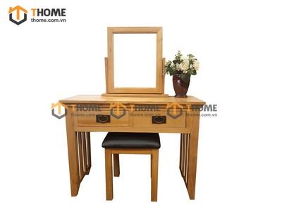 Bộ bàn trang điểm cổ điển 2 hộc kéo (bàn+gương+đôn) 1.0m BTD-03SM