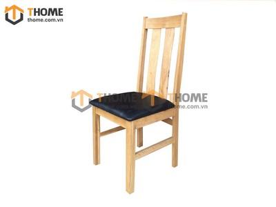 Ghế ăn 2 nan cong gỗ sồi mặt nệm GHE-02SM