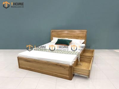 Giường ngủ Nova đầu cong trơn 2 hộc kéo 1.4m; 1.6m; 1.8m GN-03SM