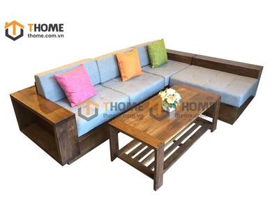 Bộ sofa góc gỗ óc chó SF-01OC