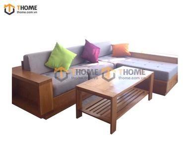 Bộ sofa góc gỗ sồi 3 món nệm nỉ SF-03SM