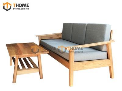 Bộ sofa como màu gỗ sồi 2 món nệm nỉ SF-06SM