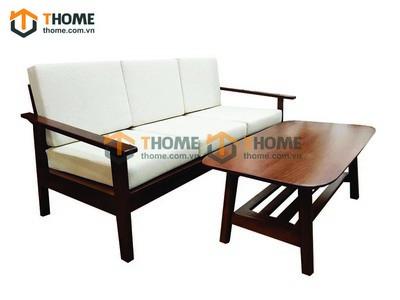 Bộ sofa como màu gỗ sồi sơn màu óc chó 2 món nệm nỉ SF-07SM