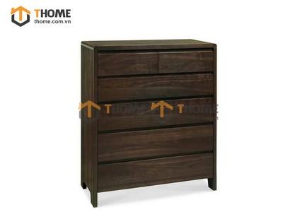 Tủ ngăn kéo đứng 6 hộc gỗ óc chó 0.8m TNK-03OC