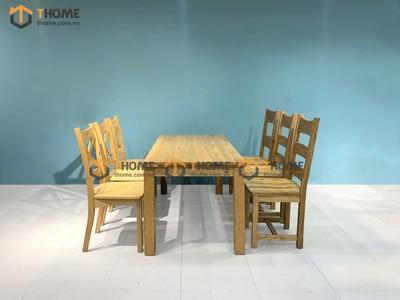 Bộ bàn ăn Harris 3 ghế 3 nan ngang, 3 ghế X 1.6m; 1.8m; 2.0m BBA-07SM