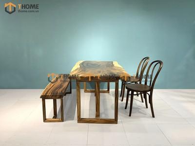 Bộ bàn ăn Me Tây 2 ghế Thonet cong, 1 ghế bench 1.4m; 1.6m; 1.8m; 2.0m BBA-90SN