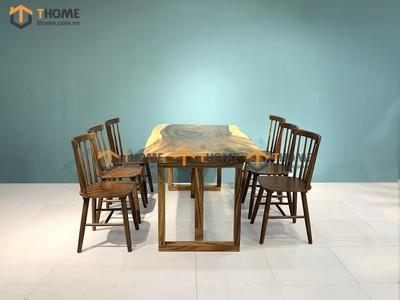 Bộ bàn ăn Me Tây 6 ghế 7 nan cao su 1.4m; 1.6m; 1.8m; 2.0m BBA-92SN