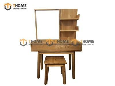 Bộ bàn trang điểm kiểu Nhật chân xéo 2 tầng (bàn+gương+đôn) 1.0m BTD-11SM