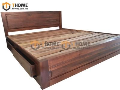 Giường ngủ kiểu Nhật 2 hộc kéo chân thấp gỗ óc chó 1.6m GN-05OC; 1.8m GN-06OC