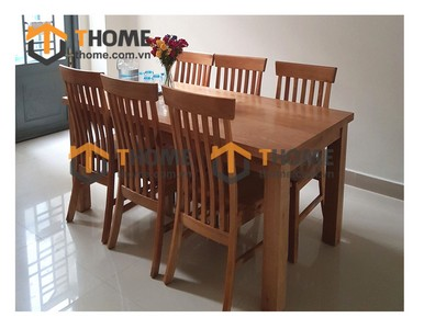 Bộ bàn ăn Harris 6 ghế 7 nan dọc 1.6m; 1.8m; 2.0m BBA-09SM