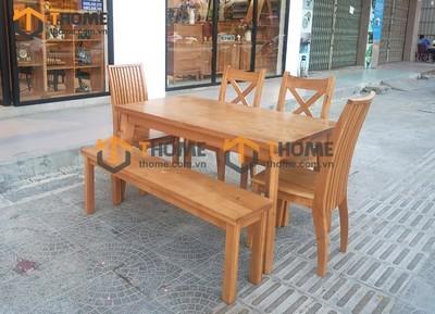 Bộ bàn ăn Harmony 2 ghế X, 2 ghế 9 nan, 1 ghế bench 1.4m BBA-14SM