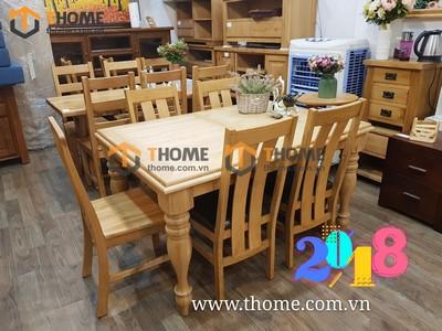 Bộ bàn ăn kéo giãn chân tiện 6 ghế 4 nan 1.4m thành 1.8m BBA-20SM
