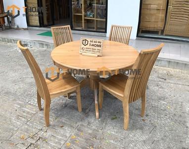 Bộ bàn ăn tròn 4 ghế 9 nan đường kính 1.2m BBA-22SM