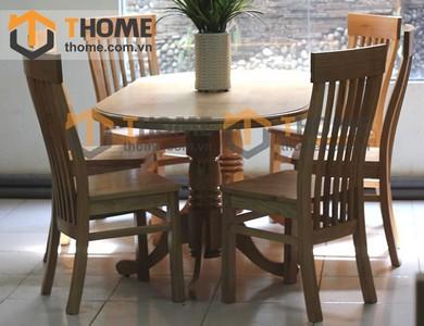 Bộ bàn ăn Oval 4 ghế 7 nan 1.6m; 1.8m BBA-23SM