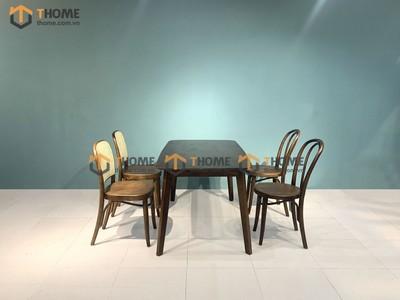 Bộ bàn ăn Obama 2 ghế Thonet cong, 2 ghế Thonet mây oval 1.2m; 1.4m BBA-35SN