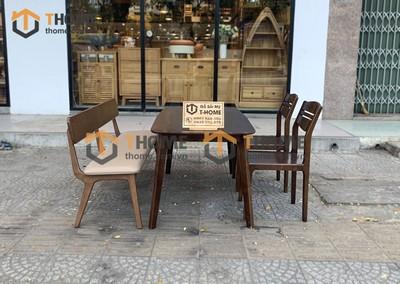Bộ bàn ăn Obama 2 ghế 3 lá, 1 ghế bench 1.2m; 1.4m BBA-36SN