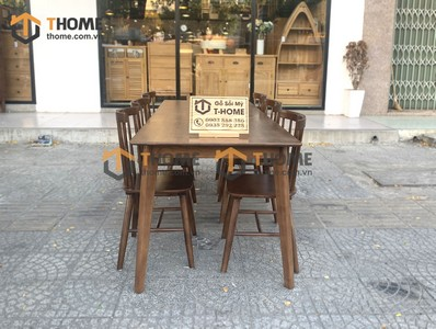 Bộ bàn ăn Obama gỗ sồi, 6 ghế 7 nan gỗ cao su 1.6m; 1.8m, 2.0m BBA-39SN