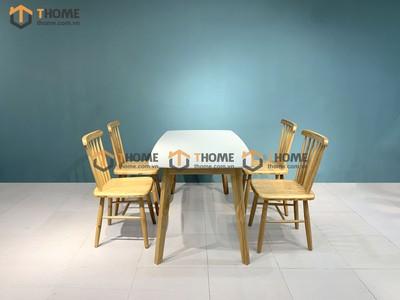 Bộ bàn ăn Obama mặt đá 4 ghế 7 nan 1.2m; 1.4m BBA-41SN