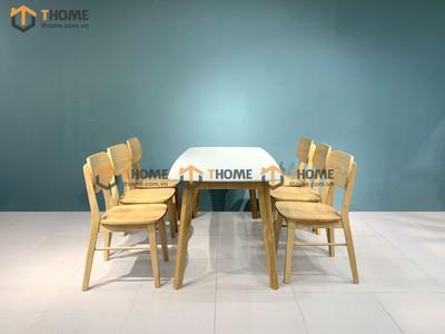Bộ bàn ăn Obama mặt đá 6 ghế tai voi 1.6m; 1.8m; 2.0m BBA-49SN