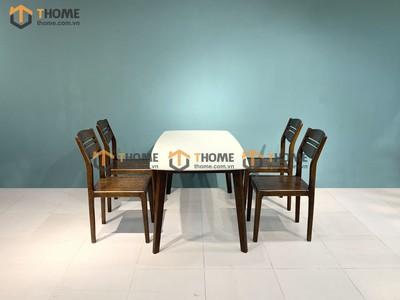 Bộ bàn ăn Obama mặt đá 4 ghế 3 lá 1.2m; 1.4m BBA-51SN