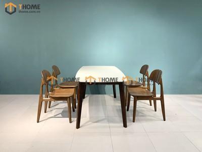 Bộ bàn ăn Obama mặt đá 4 ghế op 1.2m; 1.4m BBA-52SN