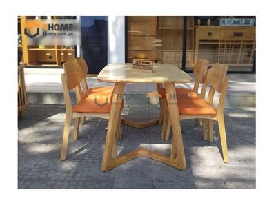 Bộ bàn ăn Grace chân M 4 ghế tai voi 1.2m; 1.4m BBA-53SN