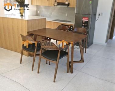 Bộ bàn ăn Grace chân M 4 ghế hiroshima 1.2m; 1.4m BBA-54SN