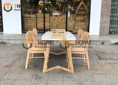 Bộ bàn ăn Grace chân M 4 ghế tai voi 1.2m; 1.4m BBA-58SN