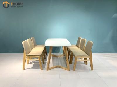 Bộ bàn ăn Grace chân M 6 ghế hiroshima 1.6m; 1.8m; 2.0m BBA-59SN