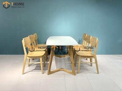 Bộ bàn ăn Grace chân M 6 ghế tai voi 1.6m; 1.8m; 2.0m BBA-60SN