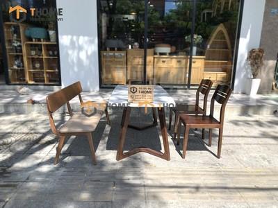 Bộ bàn ăn Grace chân M 2 ghế 3 lá, 1 ghế bench 1.2m; 1.4m BBA-61SN