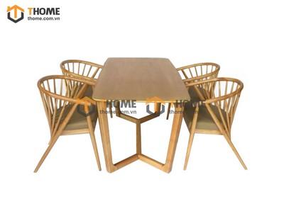 Bộ bàn ăn Concord chân xương cá 4 ghế genny 1.2m; 1.4m BBA-62SN