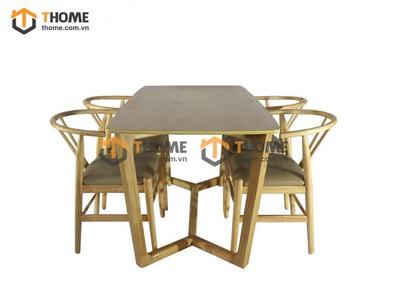Bộ bàn ăn Concord chân xương cá 4 ghế wishbon 1.2m; 1.4m BBA-63SN