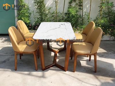 Bộ bàn ăn Concord chân xương cá 4 ghế neva 1.2m; 1.4m BBA-66SN