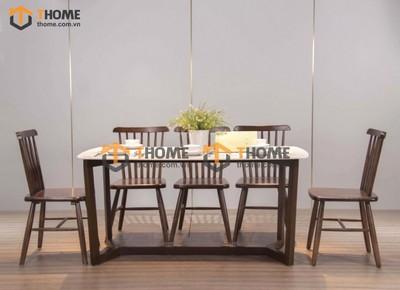 Bộ bàn ăn Concord chân xương cá 6 ghế 7 nan 1.6m; 1.8m; 2.0m BBA-68SN